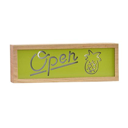 Letrero luz Open verde