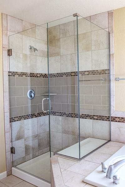 Heavy frameless all glass shower doors in Loveland Colorado
