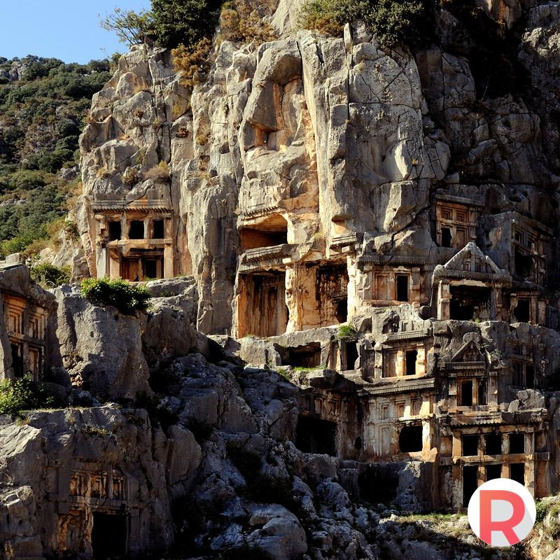 Rock-cut tombs in Myra, town in Lycia, Turkey