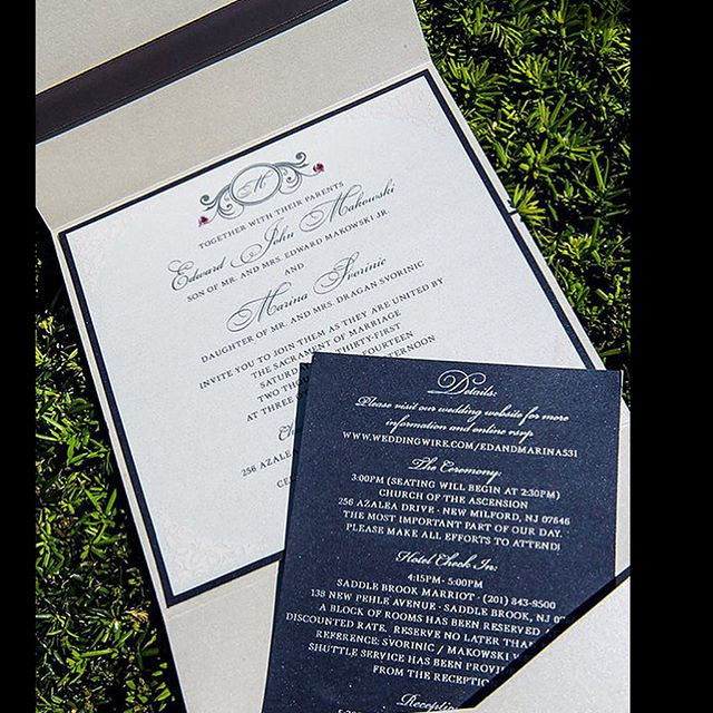 White and navy pocket  invitation with t