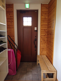 Front entry and ski storage.