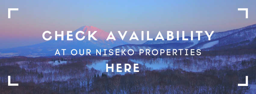 Snow covered fields with Mt Yotei in distance.  Writing: Check Availability at our Niseko properties here.