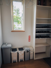 Rubbish bins and shoe storage