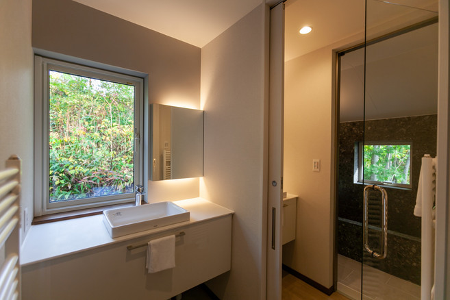 Sinks and entrance to bathroom