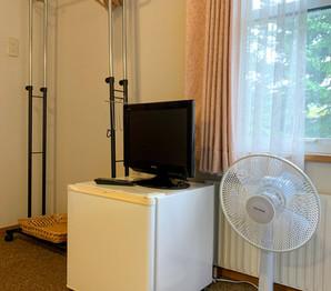 Fridge, tv, fan and clothing hangers.