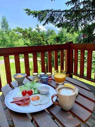 Summer breakfast on balcony