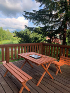 BBQ on balcony in summer