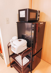 Fridge, microwave, rice cooker, kettle, toaster.