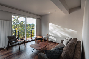 Living room with forest views