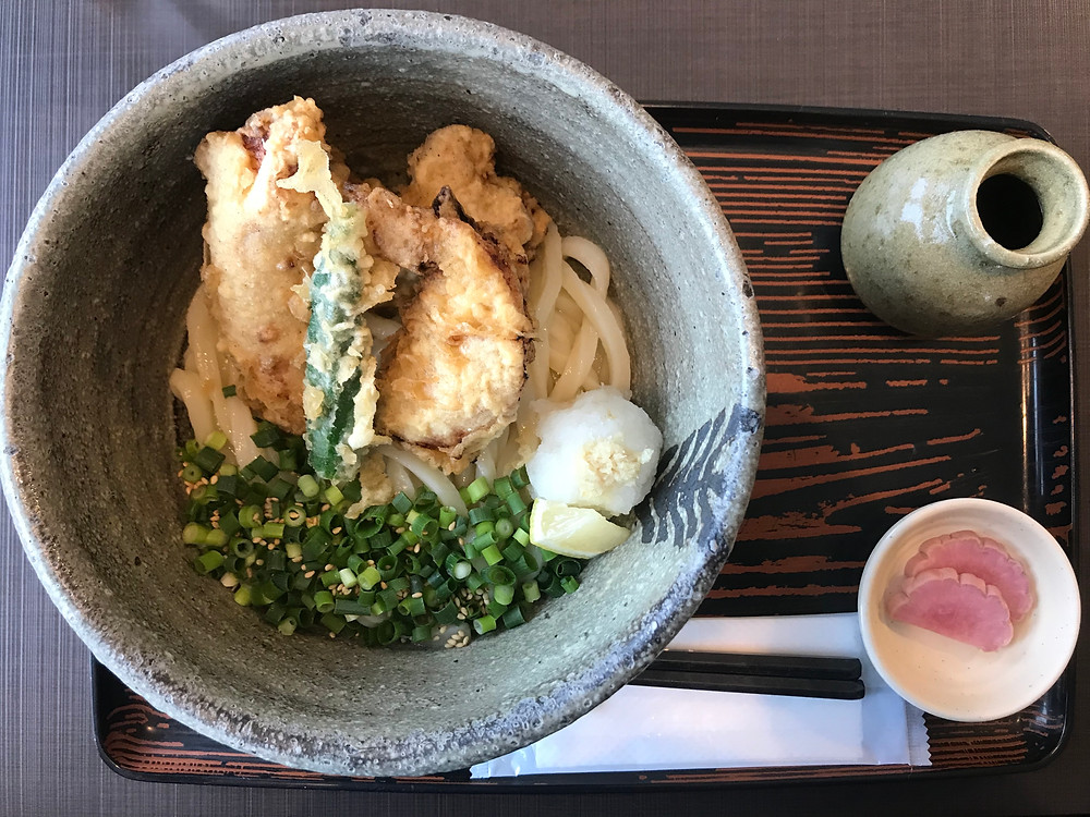 Bowl with udon noodles, spring onions and zangi chicken.  Pickle and soy broth on the side.