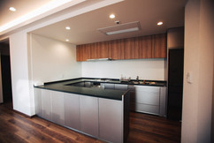 Kitchen open plan to dining room