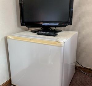Mini fridge and tv