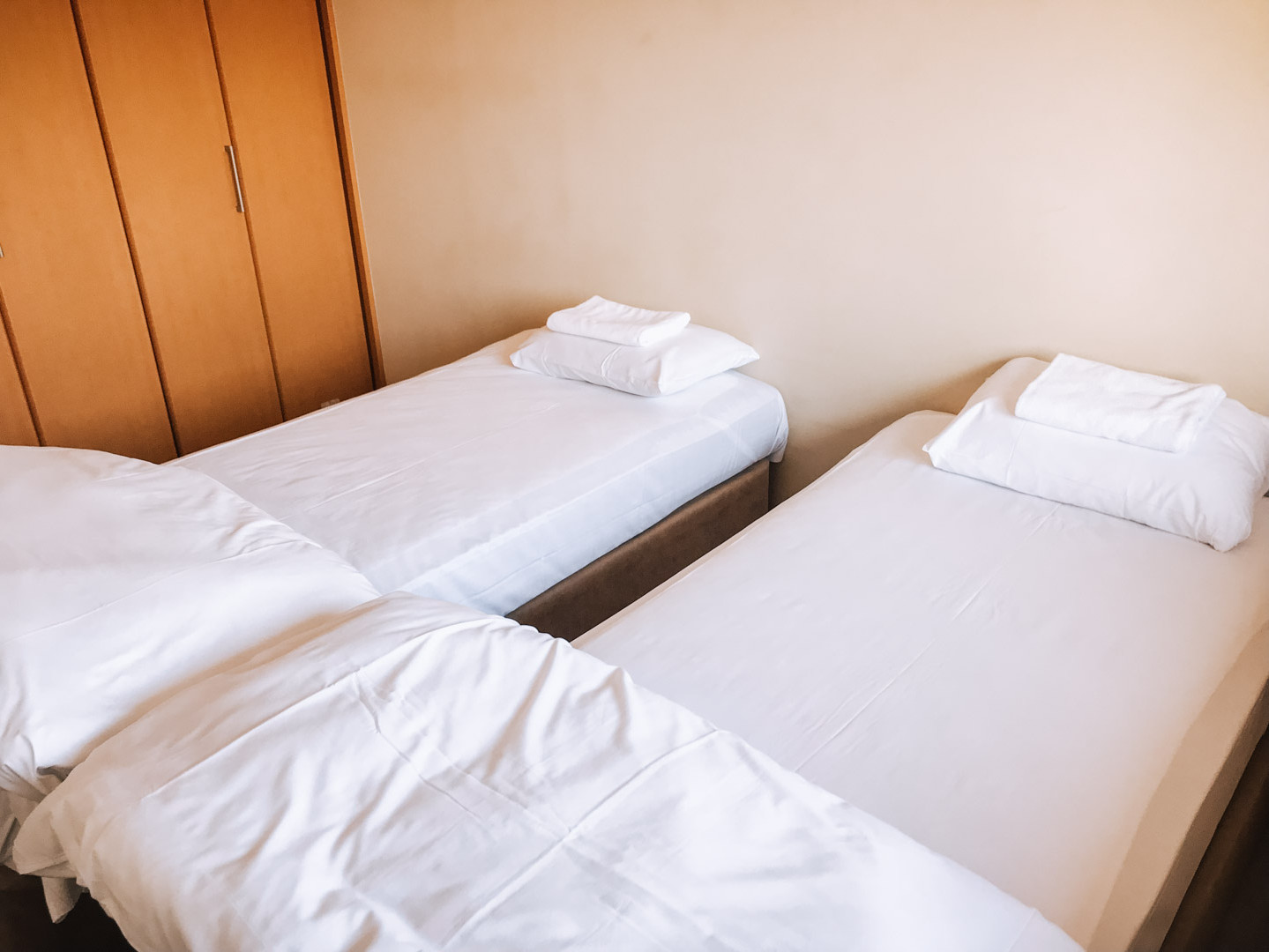 Twin beds in main room