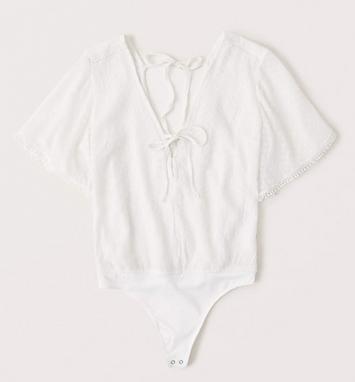 Short-Sleeve Chiffon Bodysuit