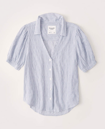 Crinkle Cotton-Blend Button-Up