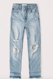 Ripped High Rise Mom Jeans $49