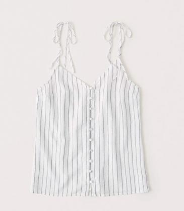 Linen-Blend Button-Up Cami