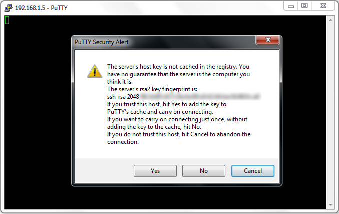 Putty's friendly first time login warning