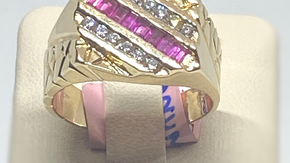 Diamond And Red Ruby Ring