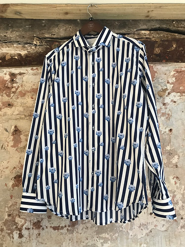 Navy Stripes with Flowers Print Shirt