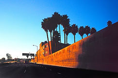 Hollywood freeway at the Cahuenga-Gower exit to Sunset Boulevard.