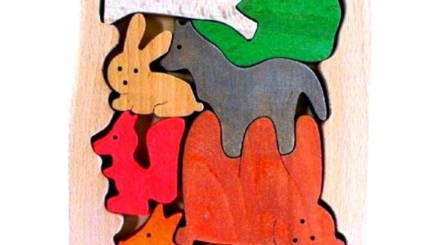 Лесные зверята цветной пазл - сортер