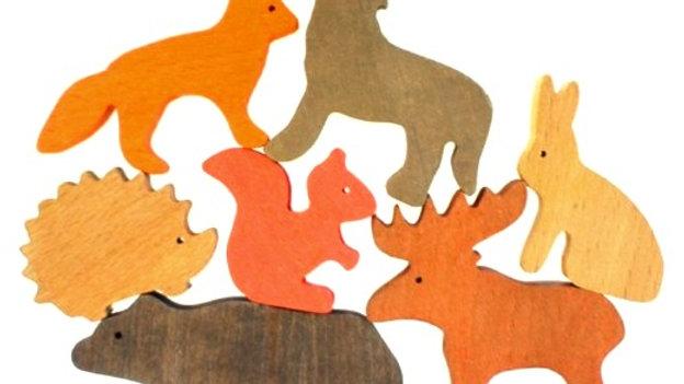 Лесные животные набор деревянных фигурок