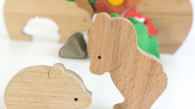 Семейство медвежат без покраски пазл - сортер
