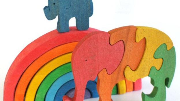 Слоники мать и дитя цветной пазл - сортер