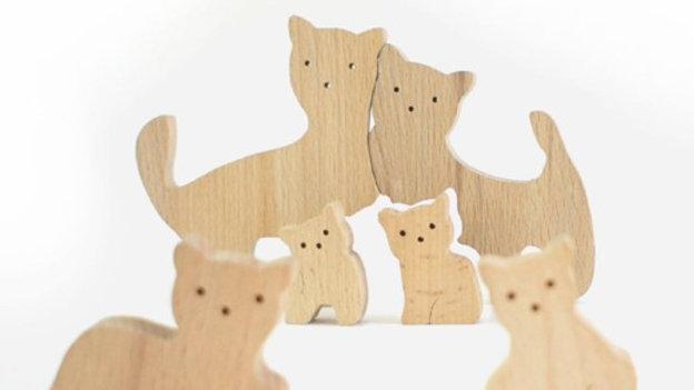 Семейство кошечек без покраски пазл - сортер