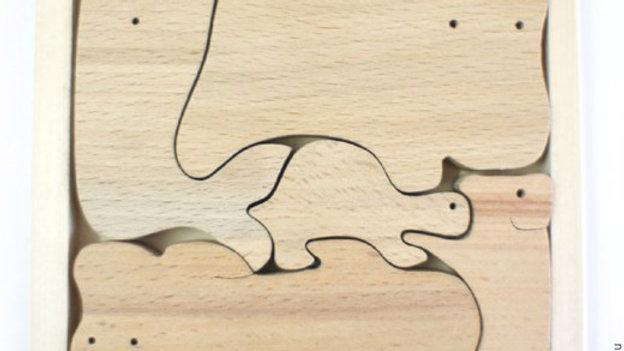 Веселый зоопарк с бегемотом без покраски пазл - сортер