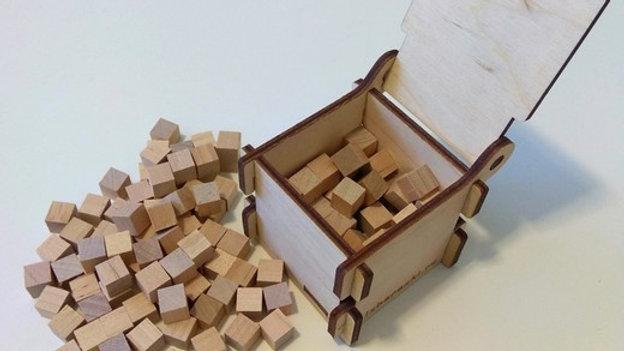 Коробочка с кубиками кубическая, 125 кубиков