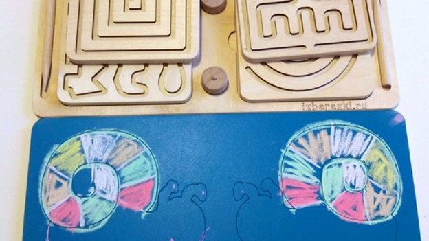 Межполушарные дощечки средние 4 пары с меловой раскраской