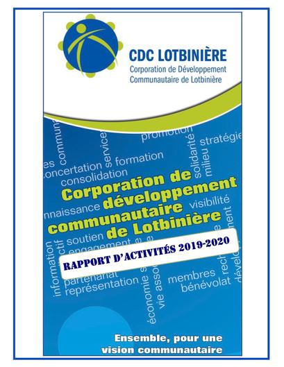 2019-2020 Rapport d'activités couvertur