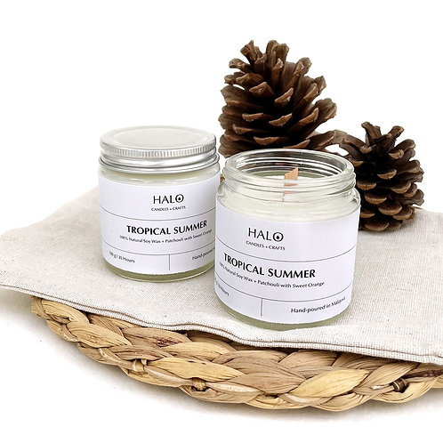 HALO Hand-poured Soy Wax Scented Candle with Wooden Wick 100g