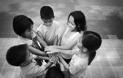Group of Asian children hands. Hand on s