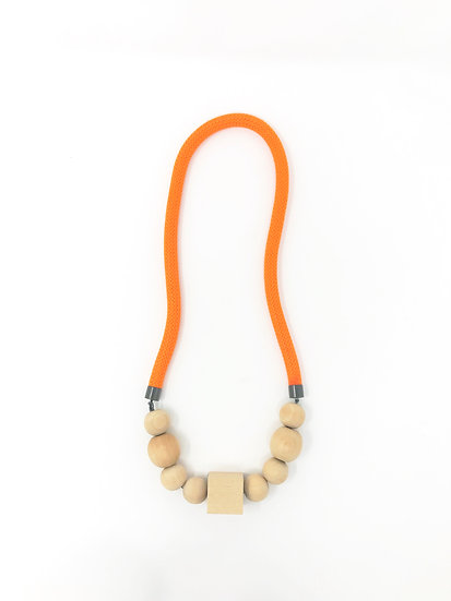 orange rope and natural beads with gunmetal findings