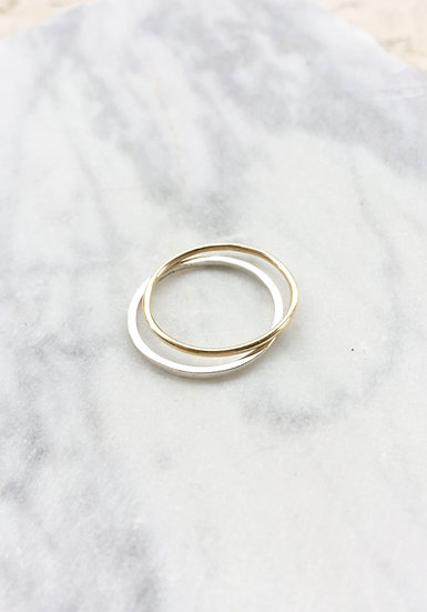 Stacker ring pair in 14k gold and sterling silver