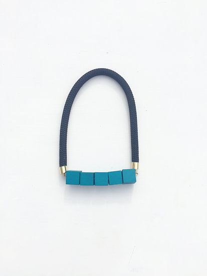 black rope and hand painted square beads with brass toned findings