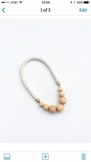 ecru rope with natural beads, brass toned findings
