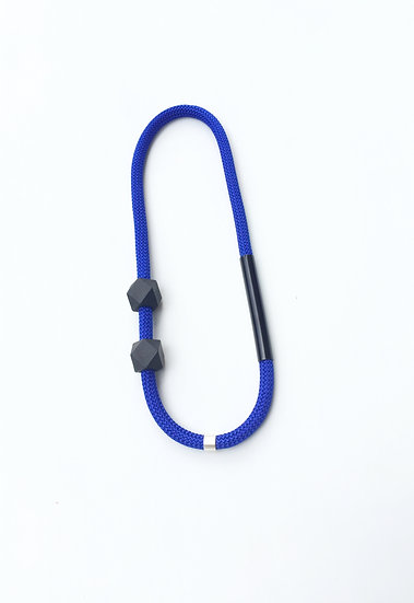 asymmetric blue rope with painted beads and powdercoated tube