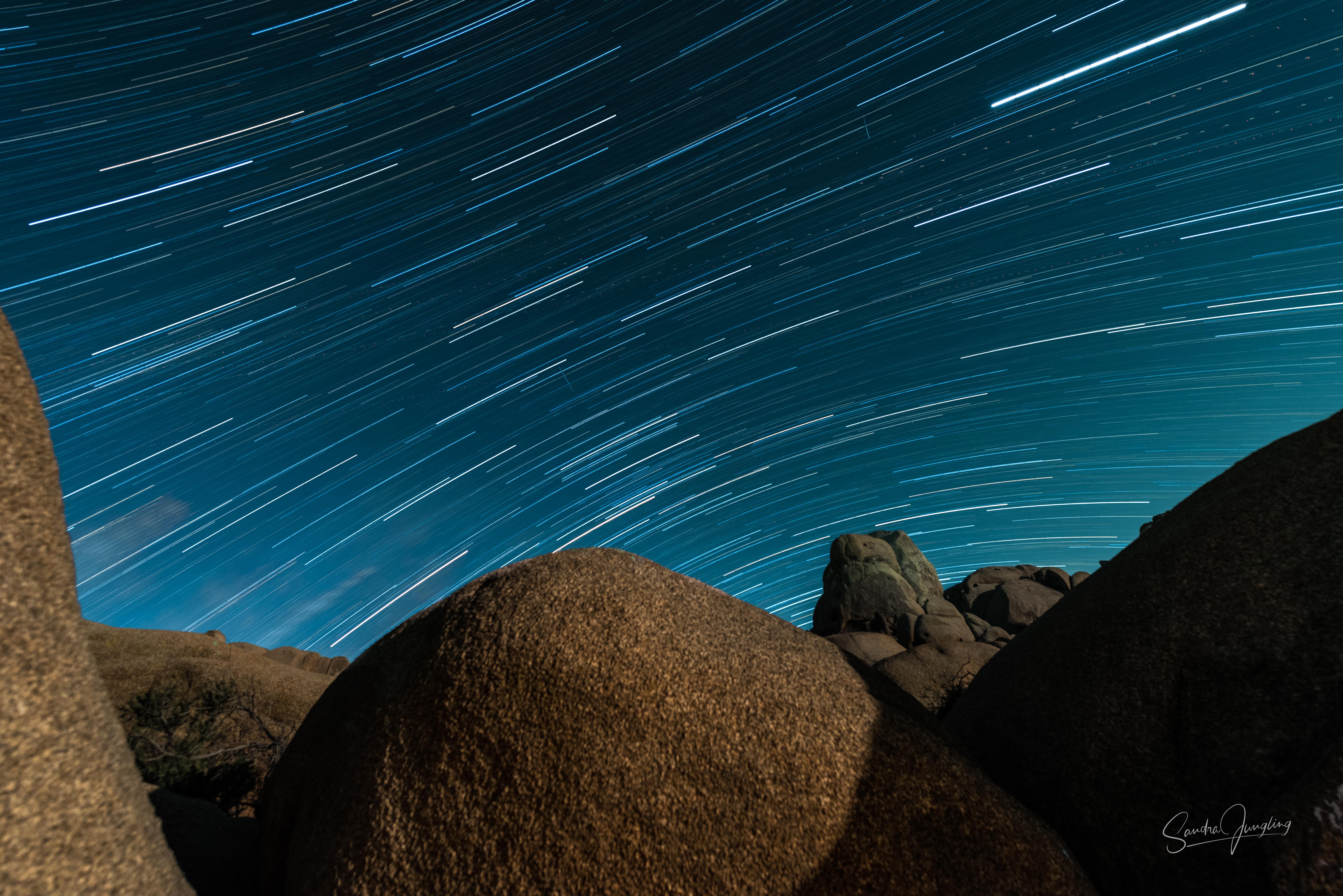Rocks and star trails