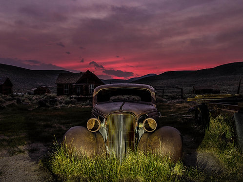Driving away Bodie sunset