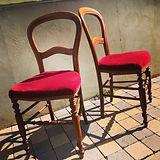 chaises velour bordeau