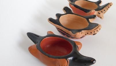 Peças zoomorfas de cerâmica Wauja