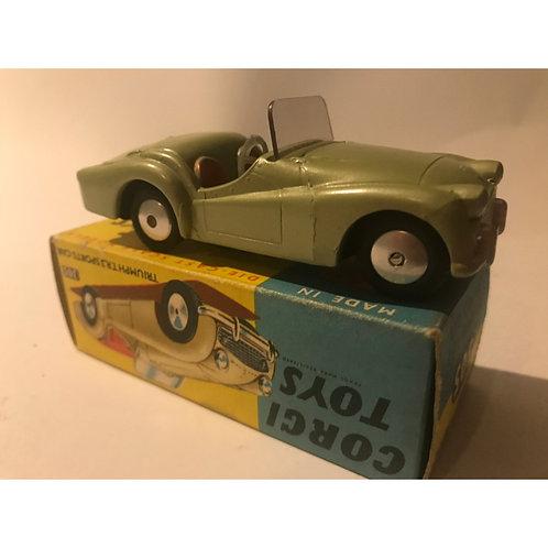 Corgi Toys Triumph TR3  In metallic green with red seats.- BOXED -#306