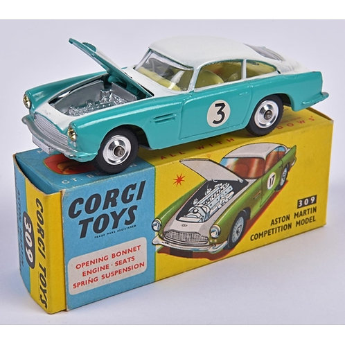 Corgi Toys Aston Martin Competition Model (309). in turquoise and white.,#309