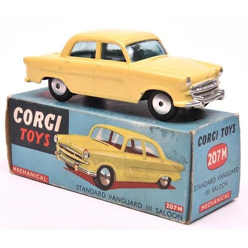 An  early Corgi Toys Mechanical Standard Vanguard Saloon in yellow.  207M