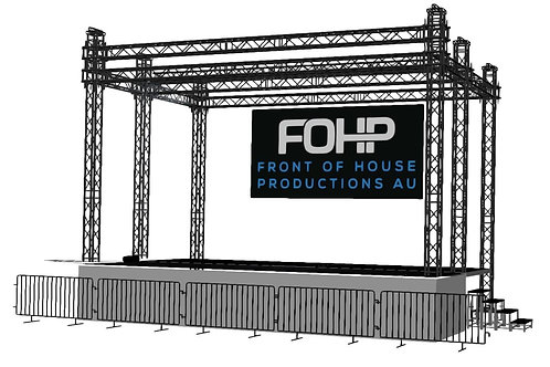 FOHP Mobile Stage 8.1m x 4.8m With Bike-Rack Barriers