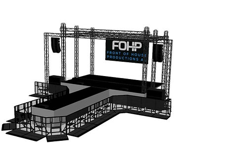 FOHP Mobile Stage 8.1m x 4.8m Stage With Wings, Catwalks & Crowd Barrier